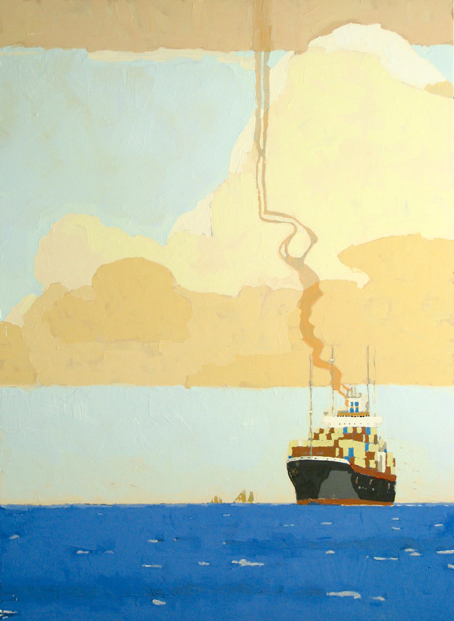 Container Ship, 2015, Latex on Masonite panel, 66 x 48 in.