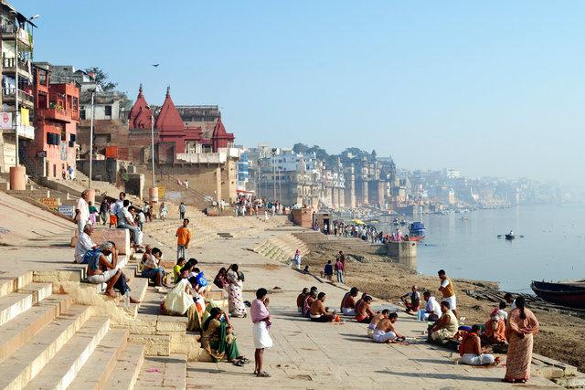 Prayer to sacred Ganga river - India