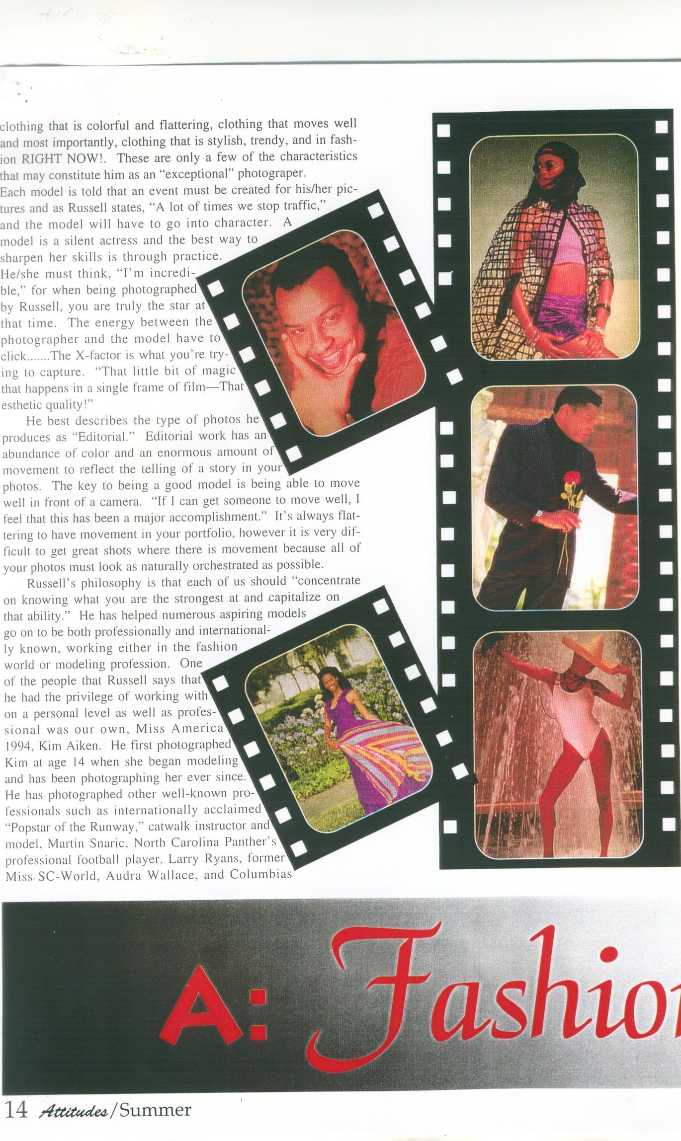 "RUSSELL ADAIR featured on page 2-  ""Through the Eyes of a Fashion Photographer."""