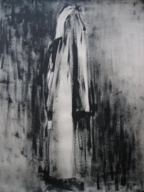 płaszcz, 100x70, tempera/papier,