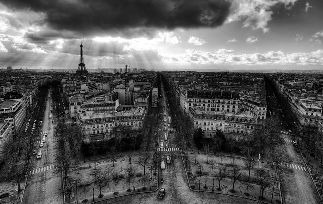 A view from the Arc de Triomphe, Paris