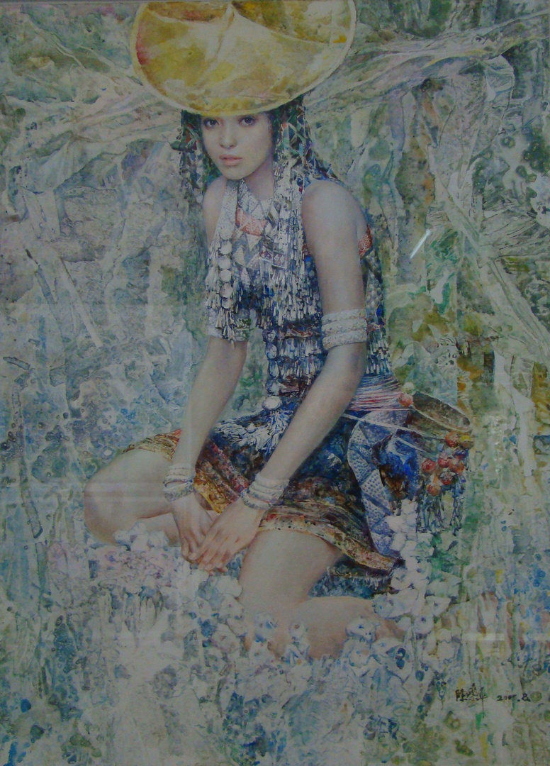 "Flower Waist Dai Young Girl, 41"" x 43"""