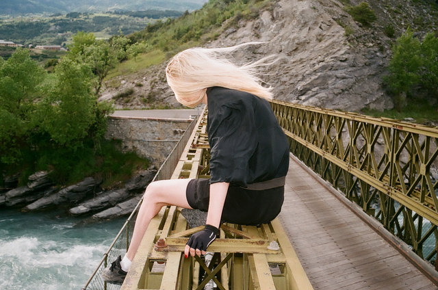 Jen on a bridge, Embrun