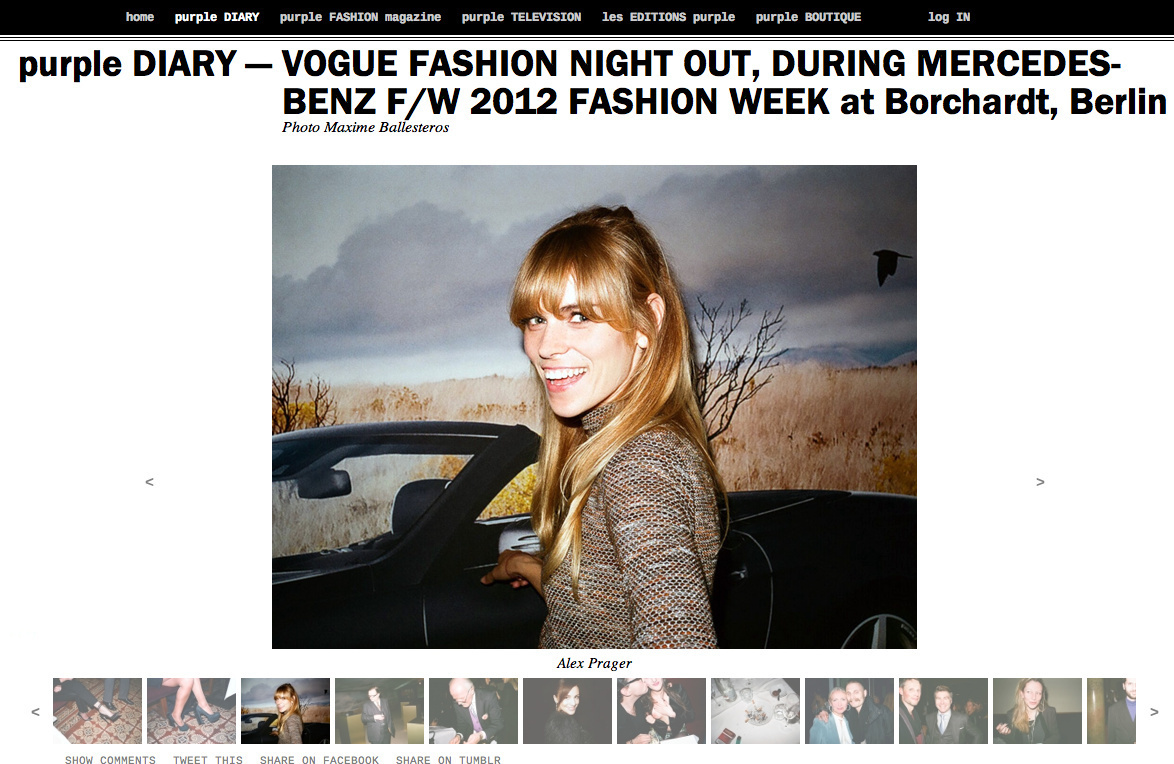 purple DIARY   VOGUE FASHION NIGHT OUT  DURING MERCEDES BENZ F W 2012 FASHION WEEK at Borchardt  Ber