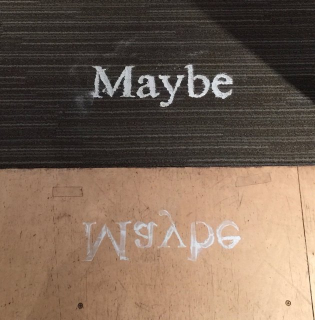 Maybe, 2016, Baby powder on wood floor and carpet, variable dimensions
