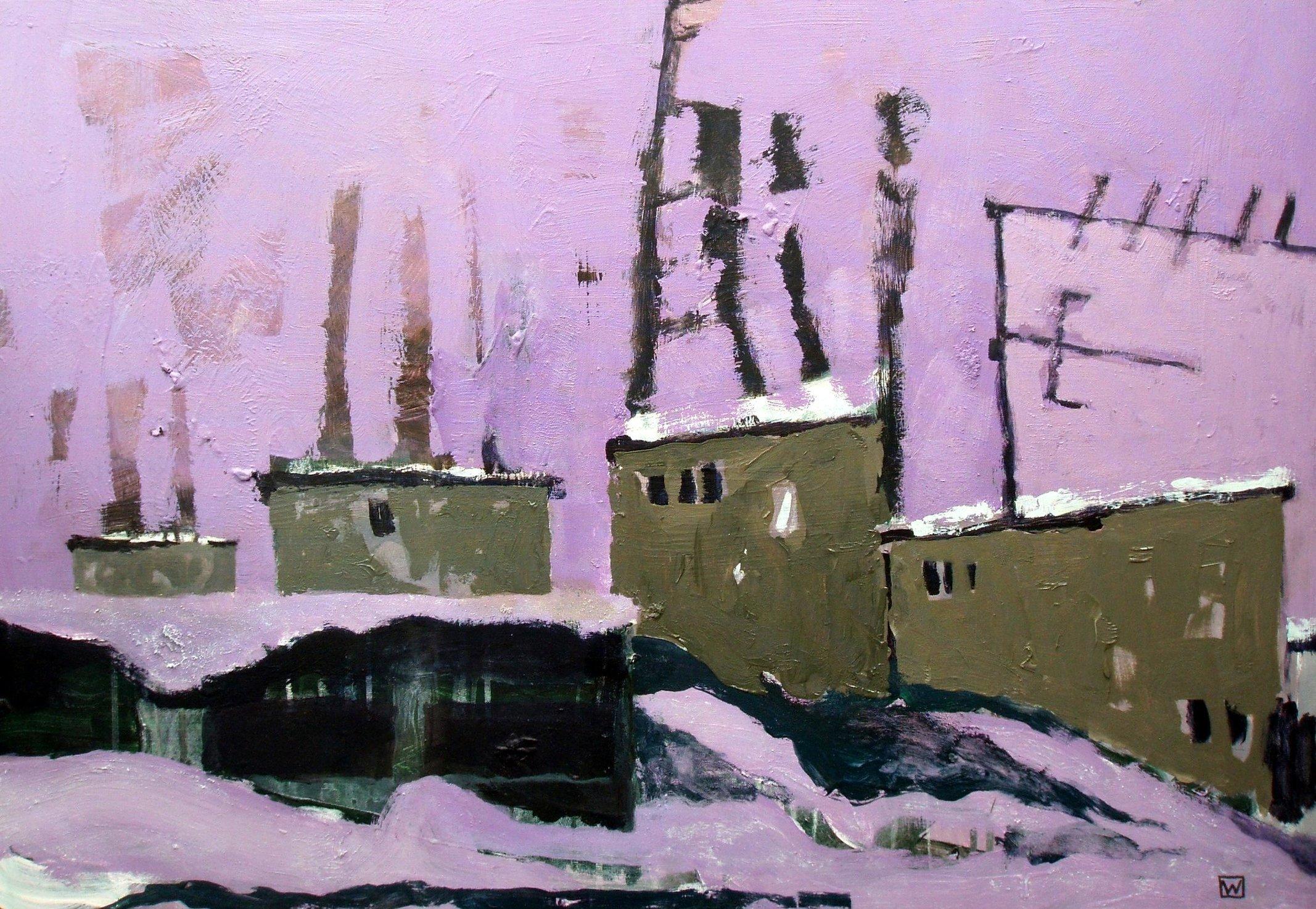 Zimowa jasna noc 64x91 akryl olej płótno