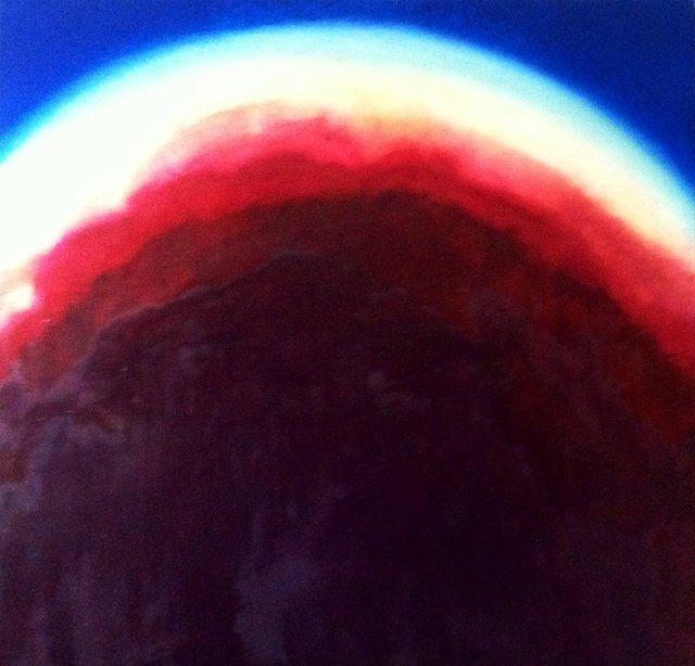 Abstrakcja w czerwieni i błękicie 90x90 olej płótno 2016