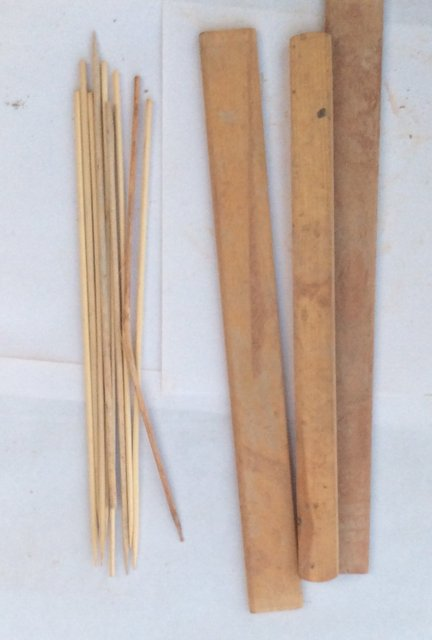 wooden slats  and sticks used as armature