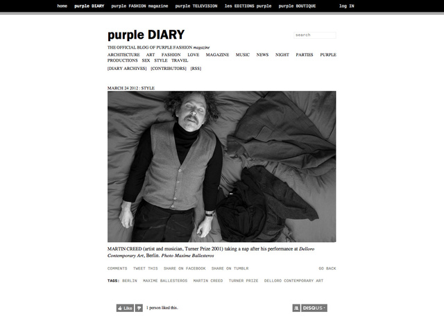 purple DIARY   Martin Creed  artist and musician  Turner Prize 2001  taking a nap after his performa