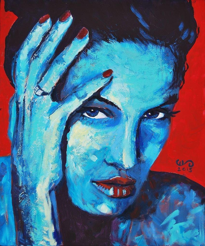 Angelina II z cyklu Beauties 55x46 akryl płótno 2015