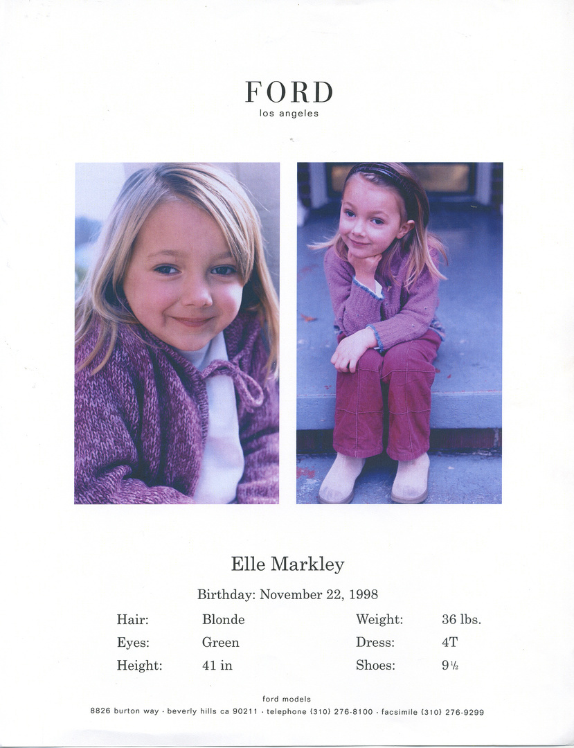 ELLE- Child model with FORD MODELS AGENCY LA, comp card cover