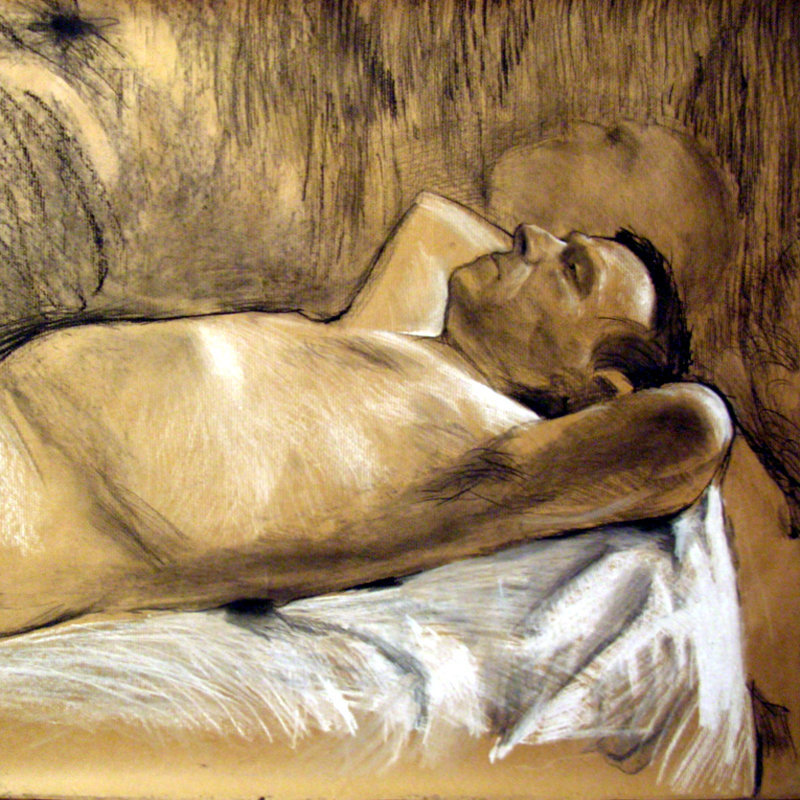 Mężczyzna leżący, rys. węglem i pastelą 80x80 2010
