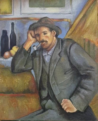 Mężczyzna z fajką, na podst. Cezann'a 33x41 olej płótno
