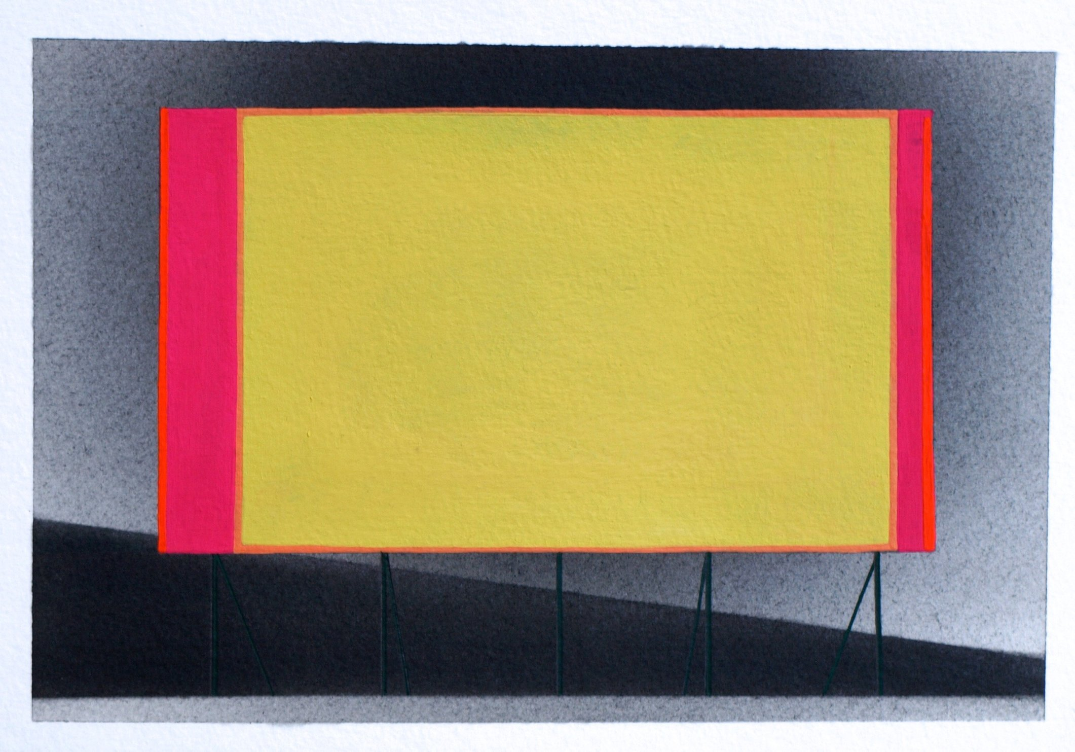 Not Too Distant Future 5, 2014, graphite and gouache on paper, ~6.5 x 9""
