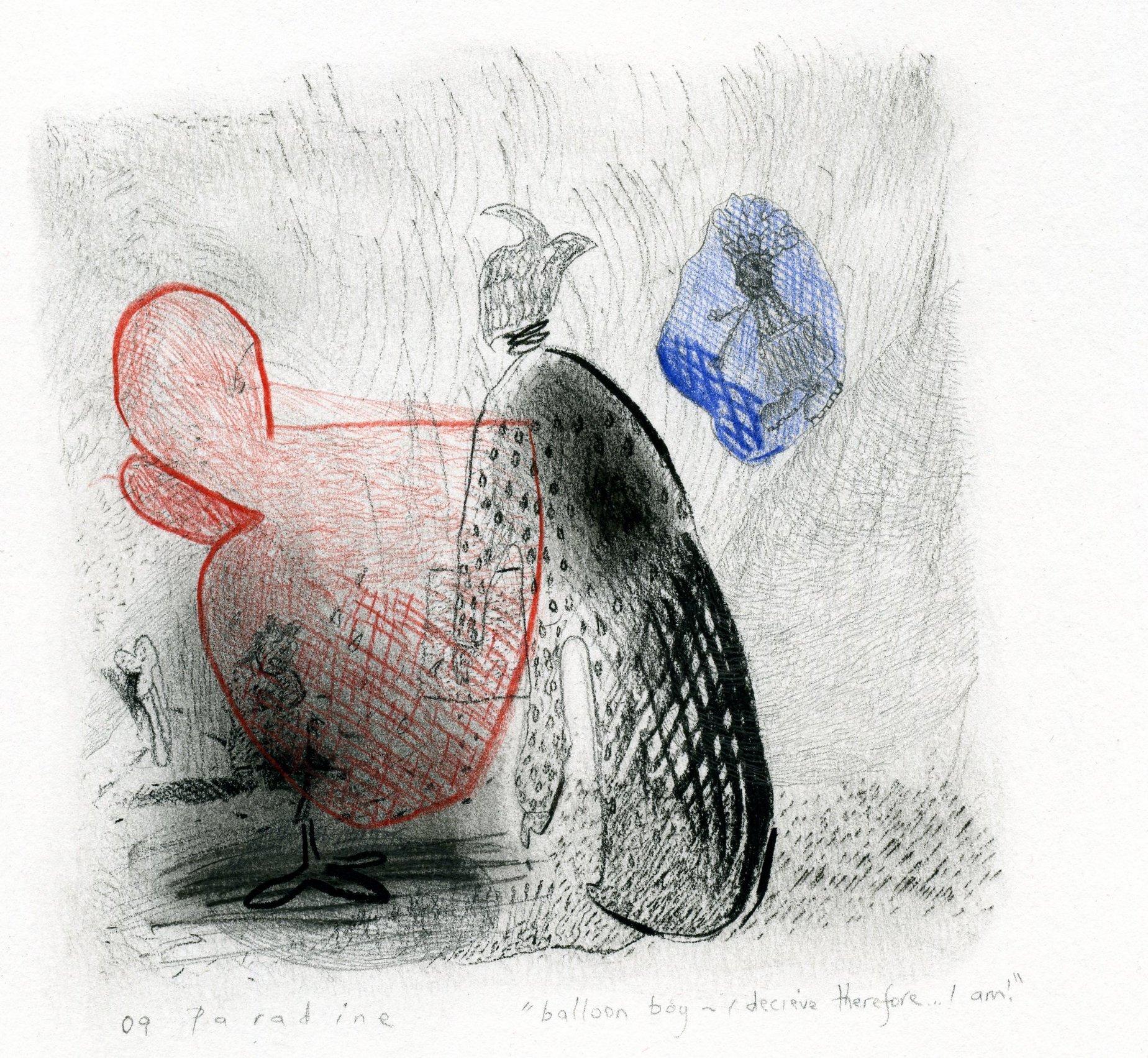 "19. ""Balloon Boy"" Pastel, conte, & coloured pencil on paper 10x10cm 2009"