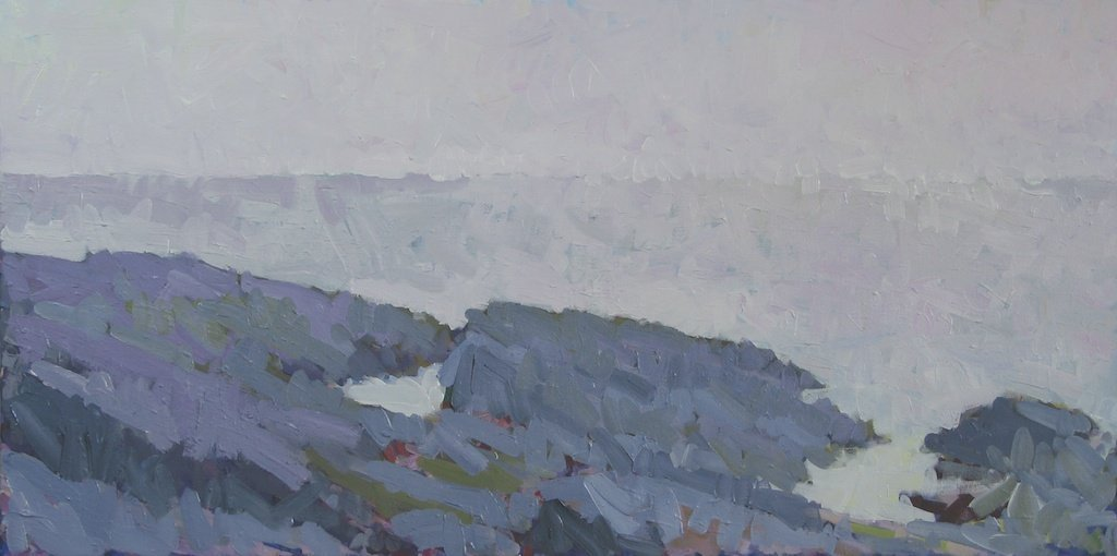 "Prouts Neck Rocks to South, 2013, Acrylic on Canvas, 24"" x 48"""