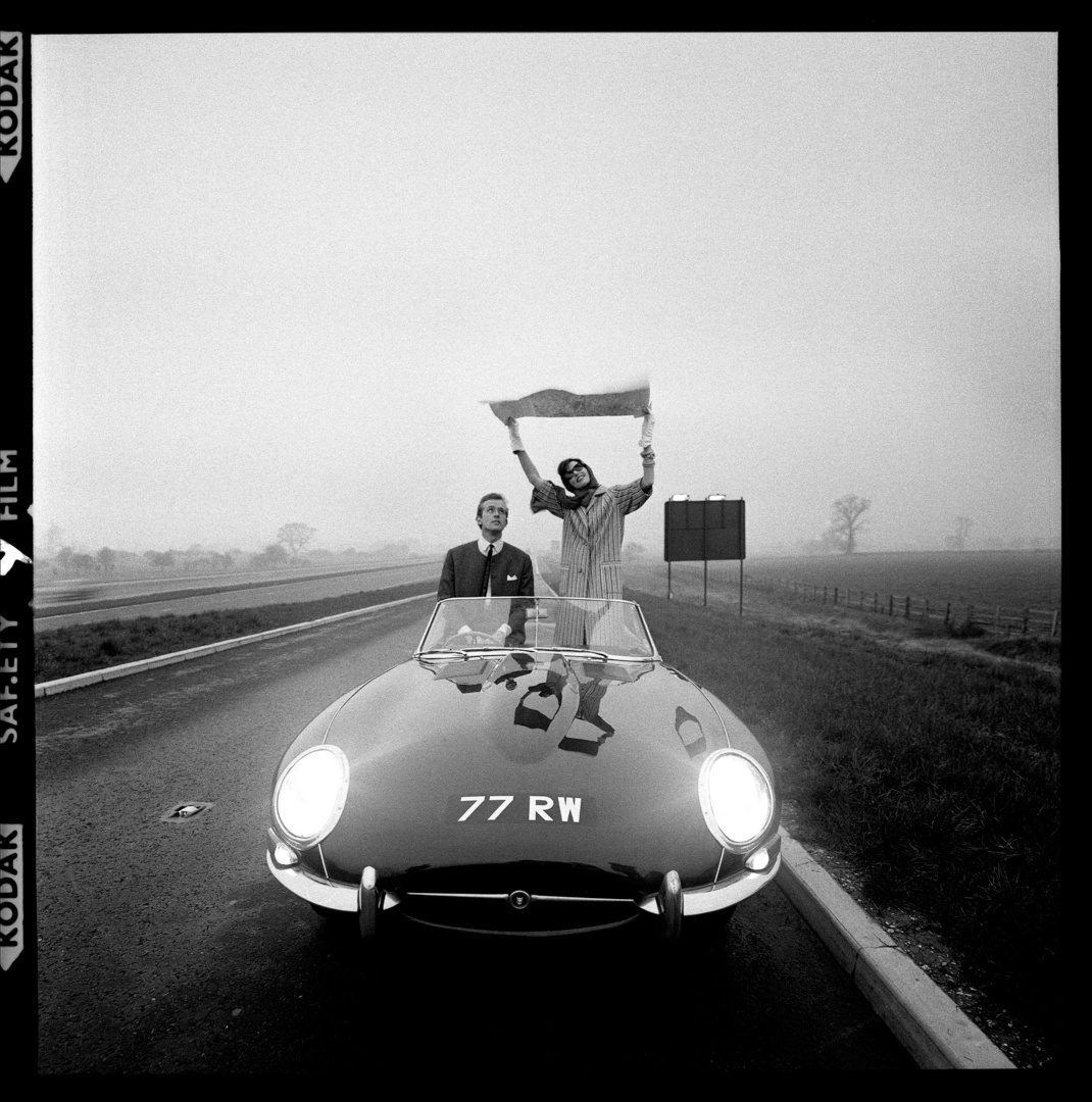 E-Type Jaguar on the M1, for Vogue, 1960