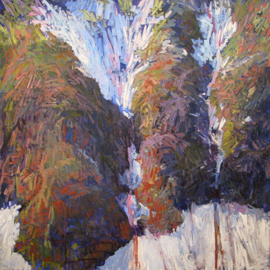 "Two Snow Chutes Late Spring, 2013, Acrylic on Canvas, 72"" x 72"""