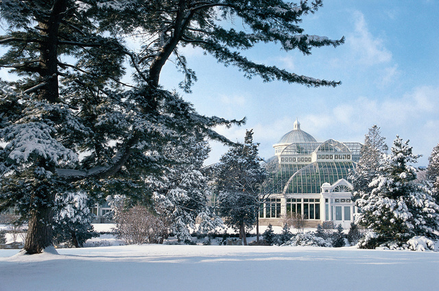 NY Botanical Garden landscape with Conservatory