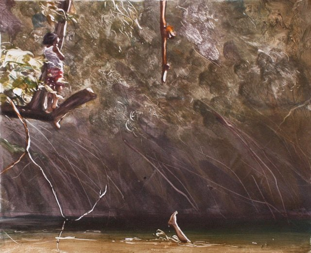 """Swimming on the Copan- Belize  10 x 13"""""""