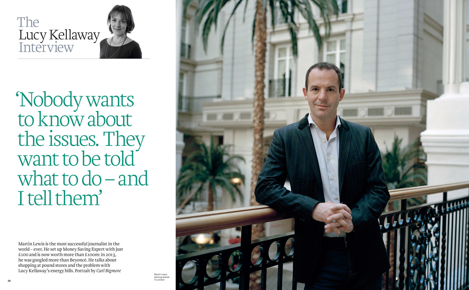 Martin Lewis, FT Weekend Magazine, 31st Oct/1st Nov 2015