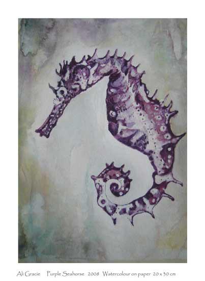 Purple Seahorse by Alison Gracie
