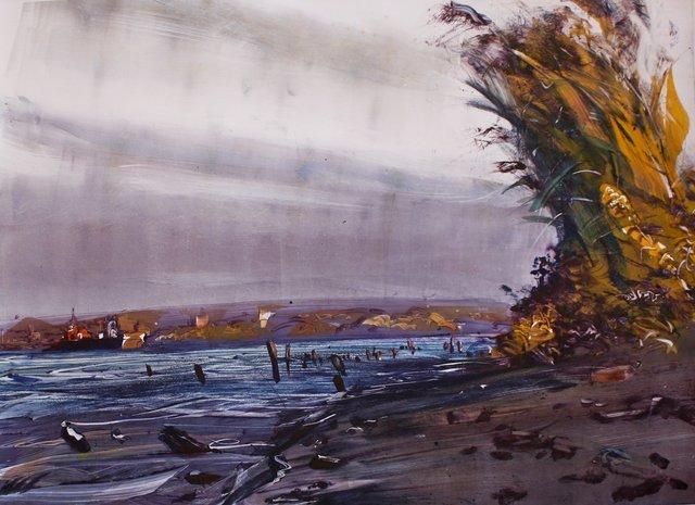 """Heron at Sunset   22 x 30"""""""
