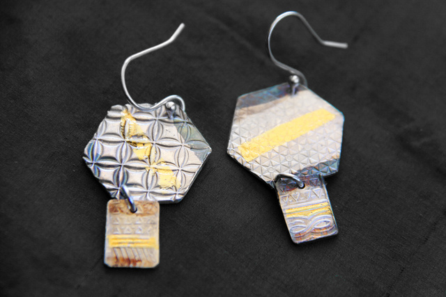 Hexagon Dangle Earrings - Fine silver with 23.5 k gold and patina - Dimensions 4 X 2.25 cm