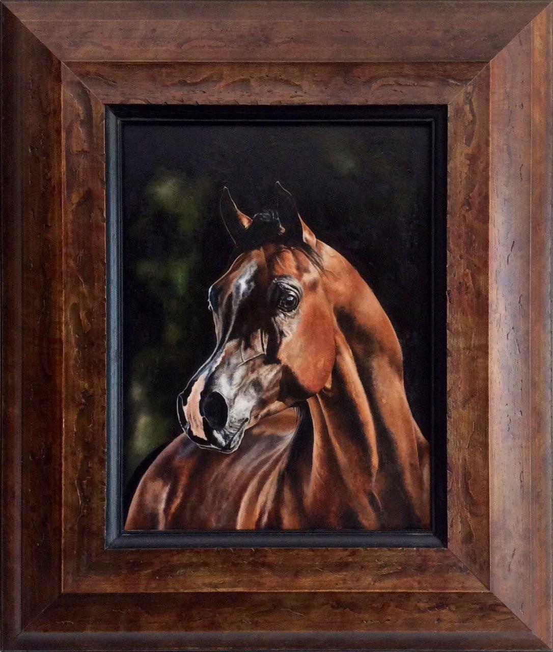 Portret gniadego konia arabskiego 26,5x35 olej deska