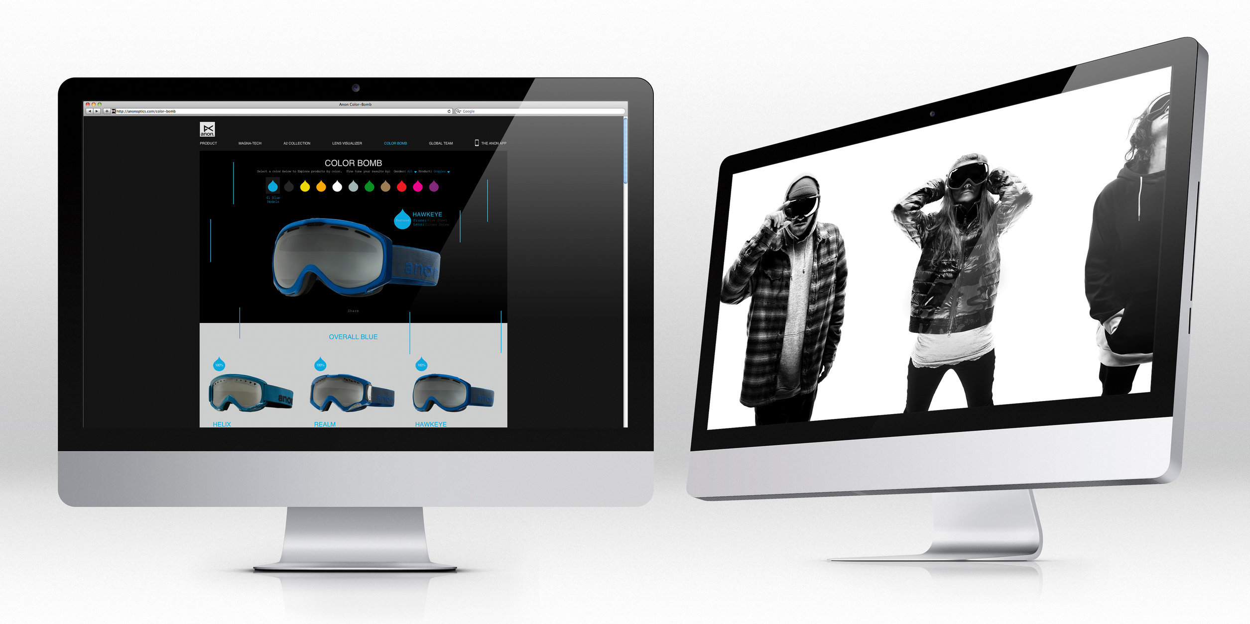 Product and advertising photography for anon optics website and marketing materials