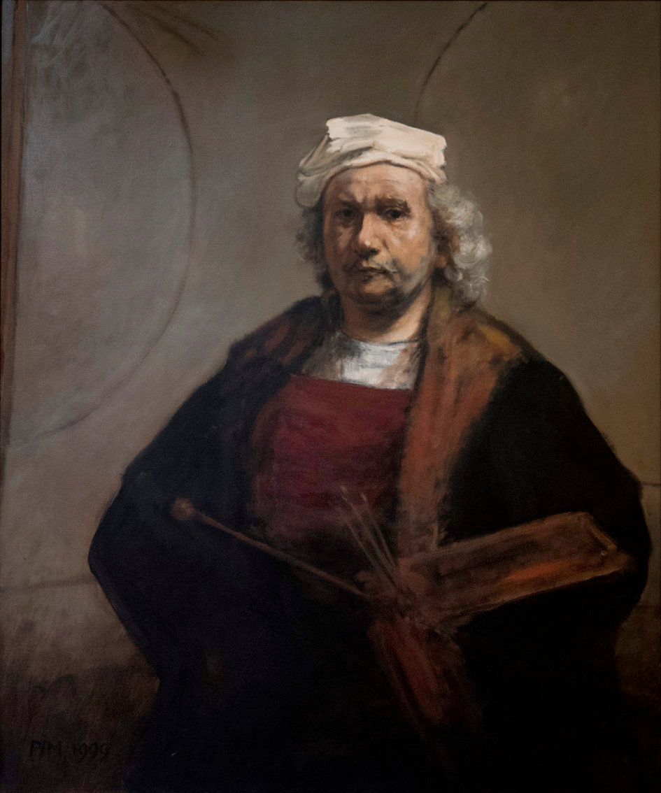 Mirrored Copy of Rembrandts Kenwood selfportrait - Oil on canvas, 100 cm x 120 cm, 1999