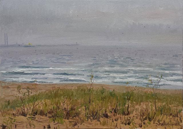Morze w deszczu 70x50 olej płótno 2015