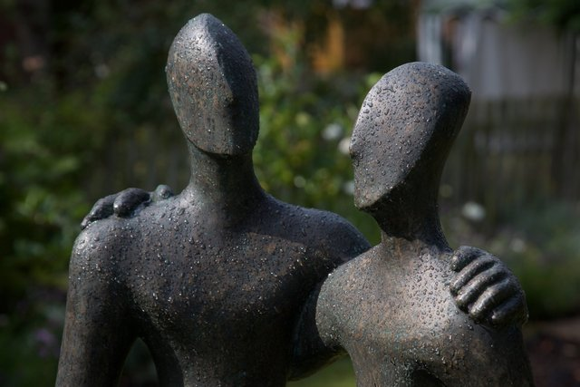 Etruscan Couple 2   2006  50 x 68 x 28cm  Bronze Resin Richmond Care Home near Wantage Exhibition 2015