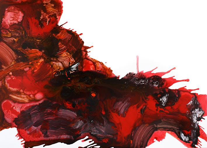 Z serii Czerwień, 100x140, akryl/płyta (wł. pryw.)