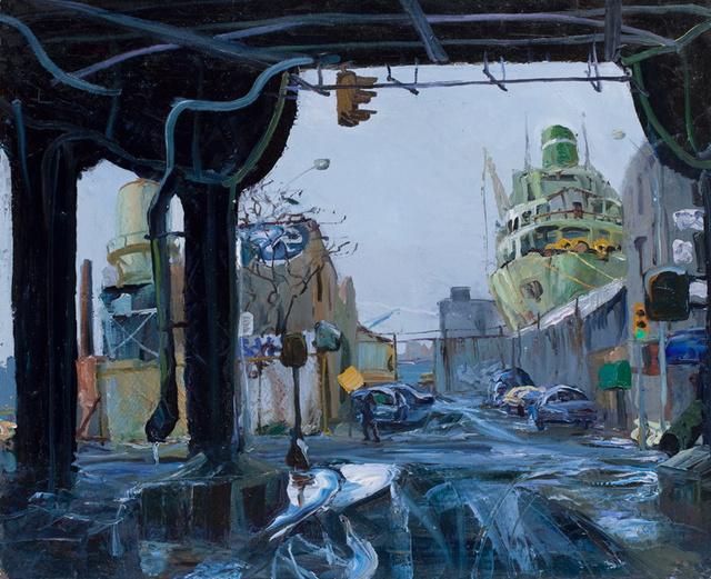 """Docked Ship, 28 x 34"""""""