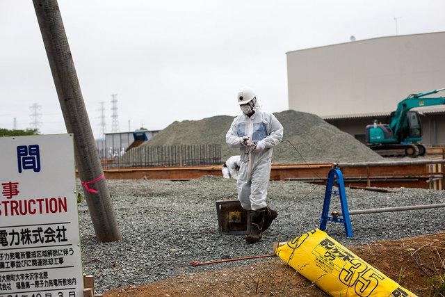 A worker near the Fukushima-Daiichi Nuclear Power Plant.