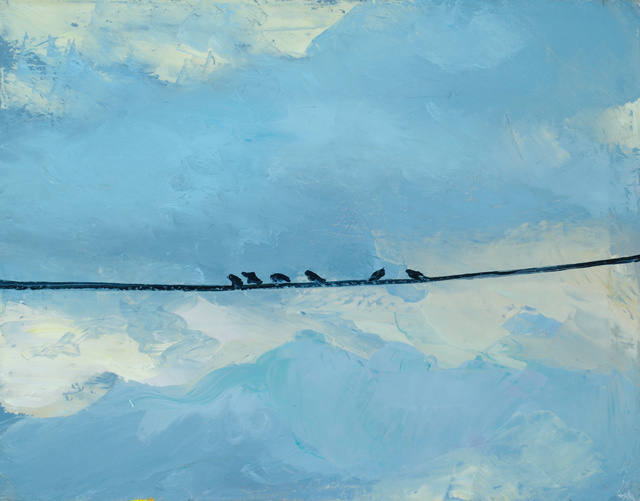 "Cowbirds on a Wire, 24 x 30""  sold"