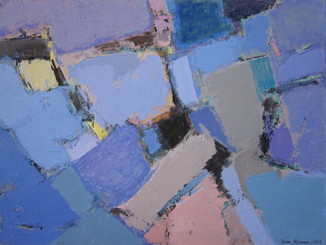 'Abstract composition. Blue fields'