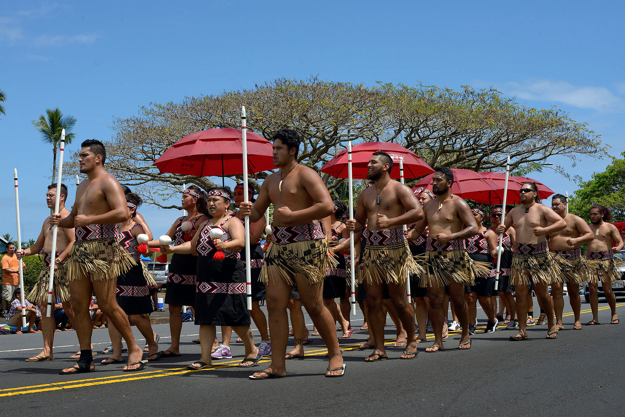Haka dancers, Merrie Monarch Parade