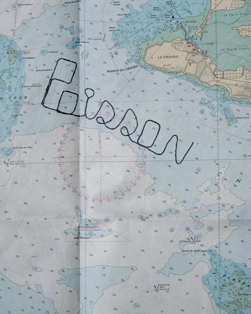 Écriture Productive, Poisson, 1995 (vidéo 35 mn, carte marine, texte, images, lettres)