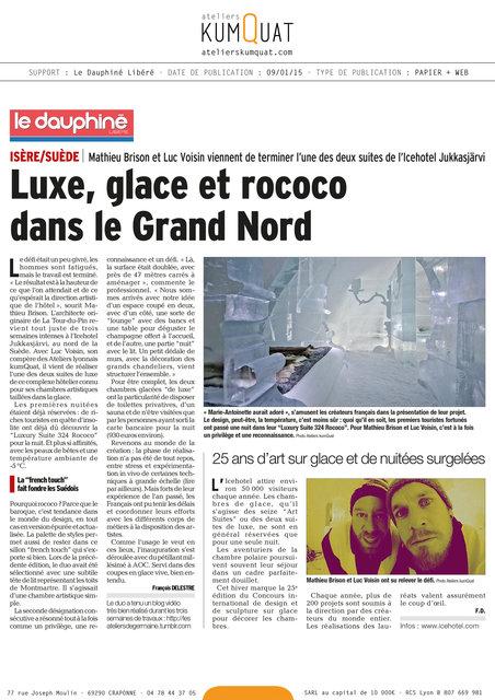 LE DAUPHINE LIBERE - 09/01/15