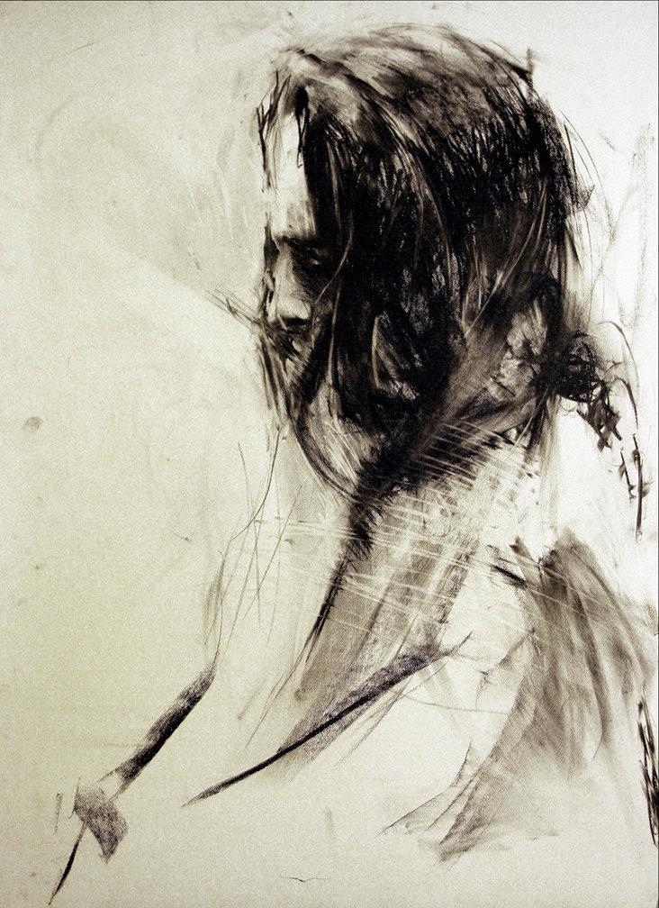 Kobieta-profil, rys. węglem 70x100 2009