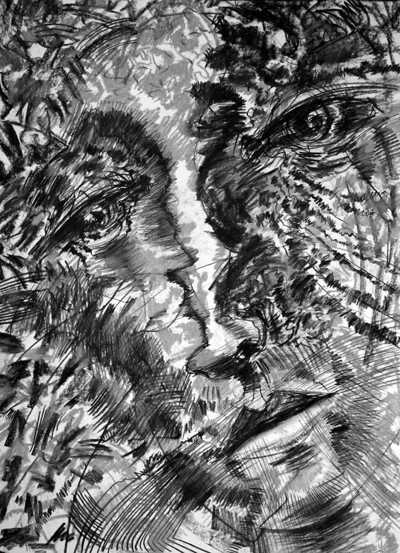 Z serii Derwisz, rysunek, węgiel/papier