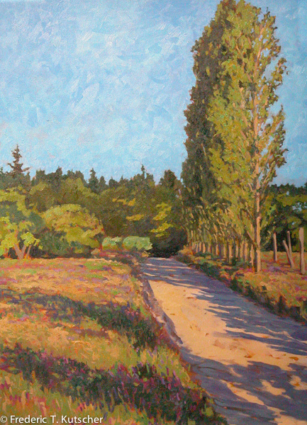 Morning Departure, Poplars Beside Driveway