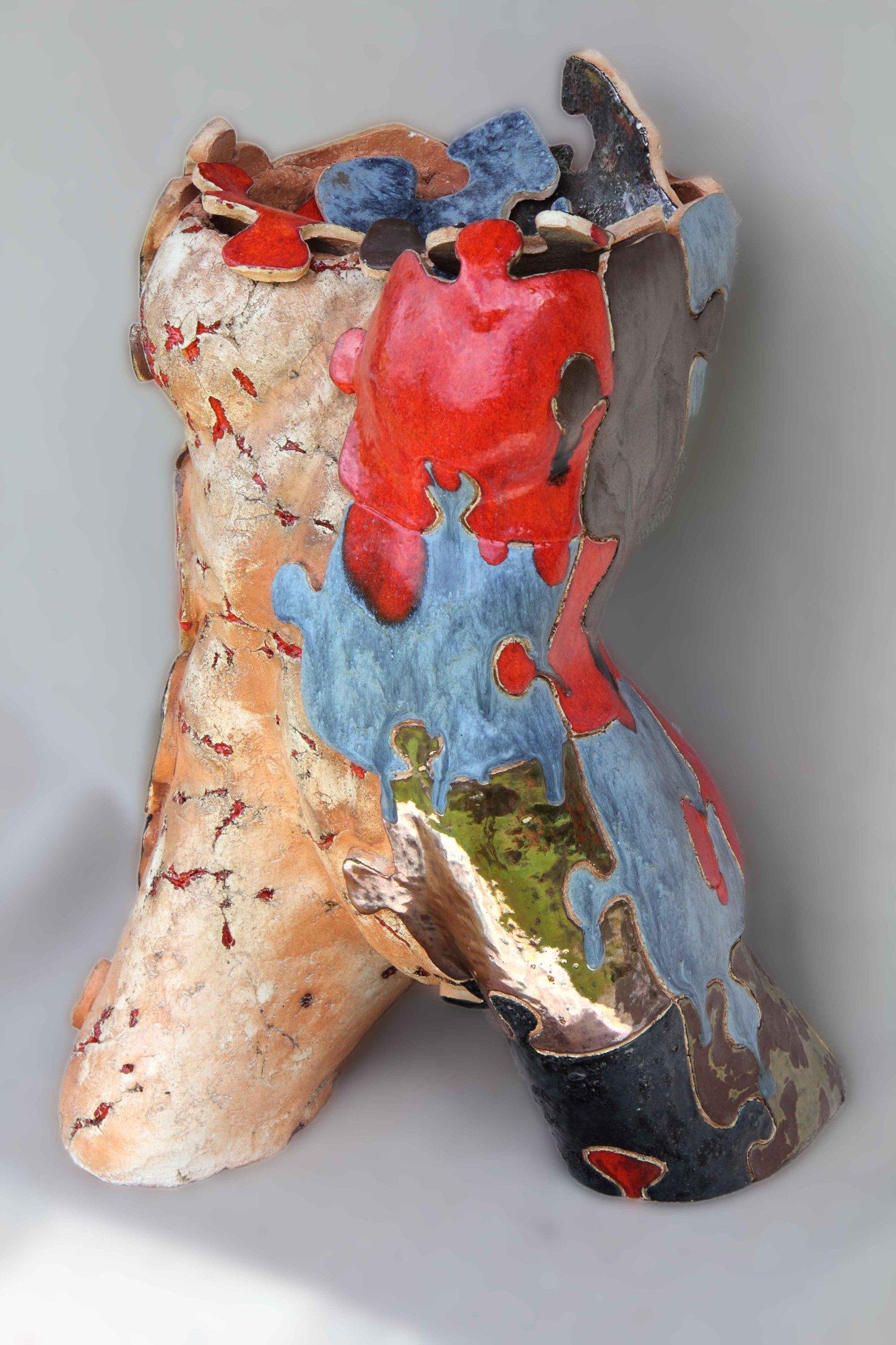 Puzzle Girl 55cm ceramika szamotowa szkliwo