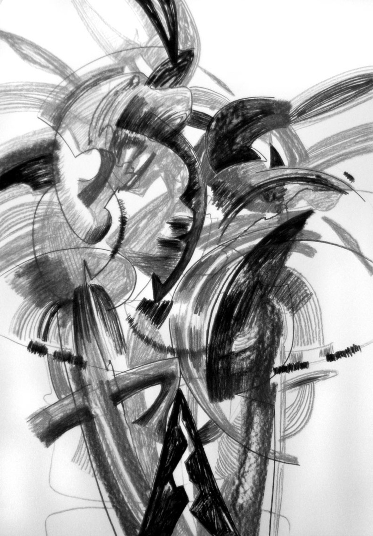 Z serii Transformacja, rysunek, węgiel/papier