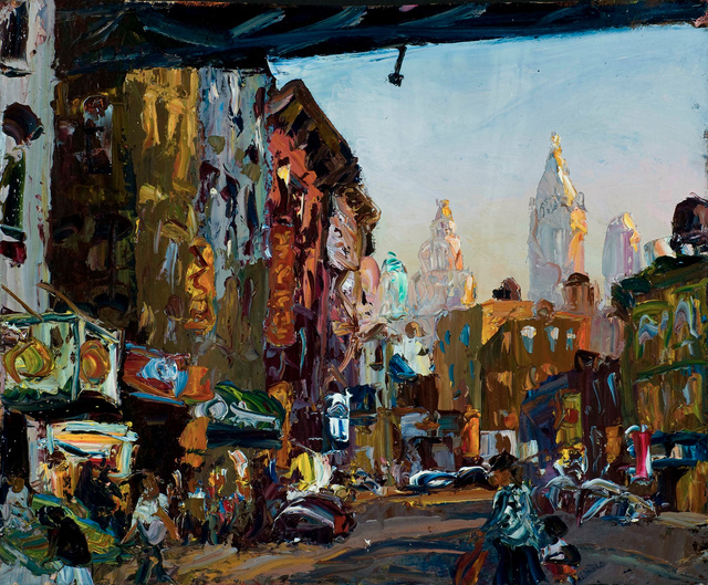 "Chinatown Sunset, 22 x 27""  sold"