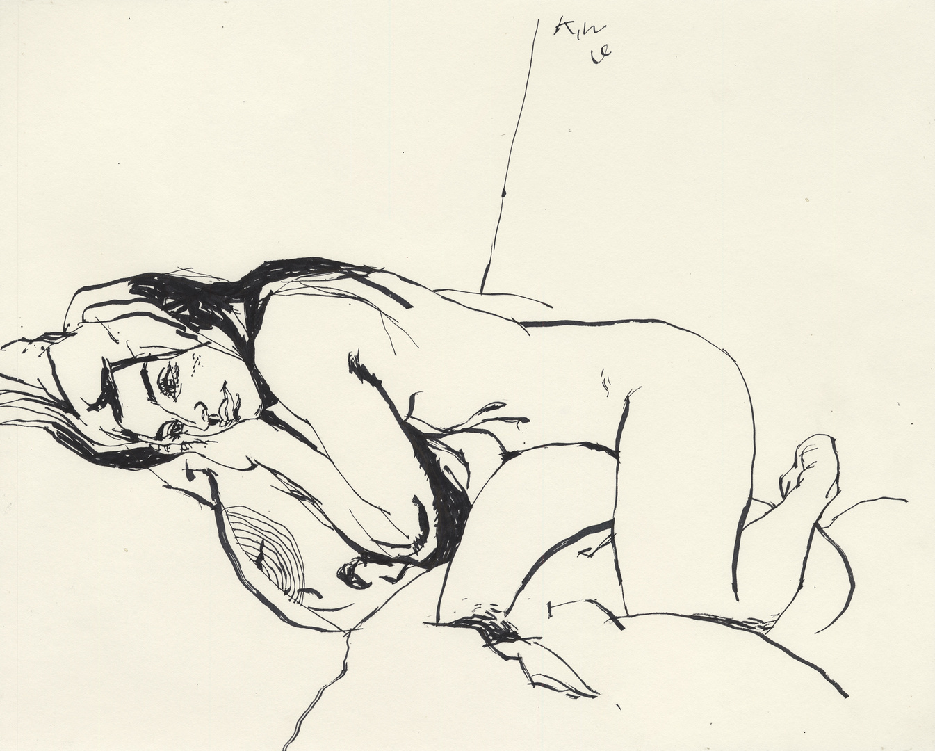 Female Figure Resting on Pillow
