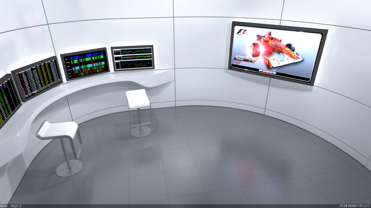 SKY SPORTS F1 HD OB Studio Interior 3D visual