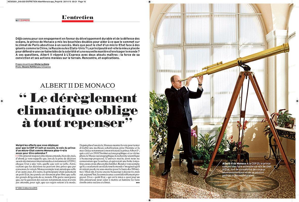 Portrait pleine page du prince Albert de Monaco - L'Express fev. 2015